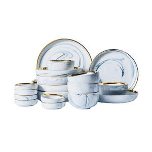 Nordic Gold Felge Marmor Textur Geschirr Set Runde Keramik Dinner Platten Suppe Platte Reisschüsseln Gewürz Gerichte Grau Rosa