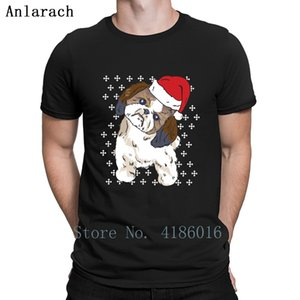 Shih Tzu Christmas Dog Owner Dog Lover Santa Hat T Shirt New Style Summer Over Size 5xl Tee Shirt Designs Cool Graphic Shirt