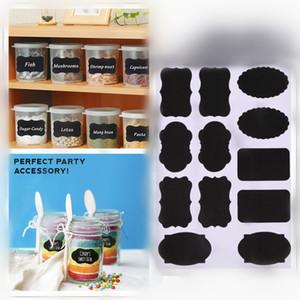 Les étiquettes de tableau 12cs / set autocollants de pot réutilisables pour les pots de confiture organisateur de cuisine de vin de bière à la maison imperméable