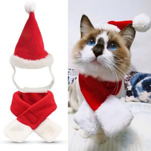 Xmas pet Adorável Natal Pet Hat Scarf Knit chapéu de Papai Noel para cão animais de estimação filhote de cachorro Xmas Pet Shop WX9-1643