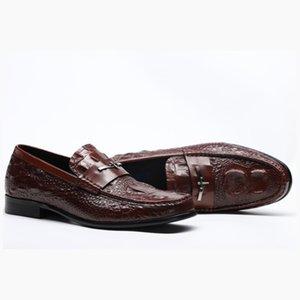 2020 Mens Casual Genuine Leather Flats Loafers Comfortable Business Wine Red Black Formal Boat Shoes Men British Leather Shoes