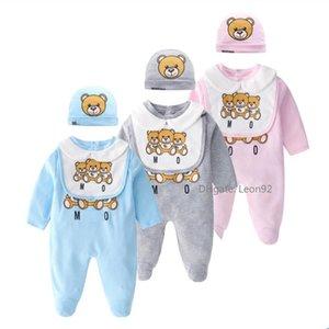 Crianças Designer Roupa para meninas dos meninos Marca Toy roupa Urso Cotton recém-nascido M urso macacãozinho da criança roupas de grife infantil set babadores Jumpsuit