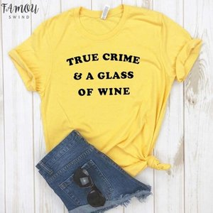 True Crime Amp; A Glass Of Wine Women Tshirt Cotton Casual Funny T Shirt For Lady V Neck Girl Top Tee Hipster