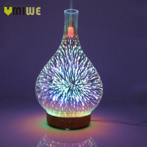 Umidificatore a forma di vaso di vetro 3d fuochi d'artificio con luce notturna a led aroma diffusore di olio essenziale mist maker umidificatore ad ultrasuoni T190628
