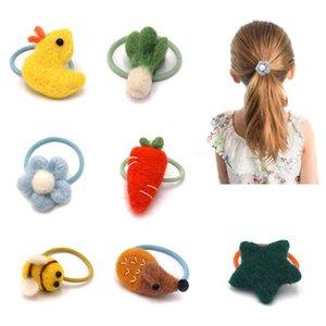 Hecho a mano de fieltro de lana de pelo anillo animal de la historieta pocos vegetales cuerda de pelo accesorios para la mujer muchacha de los niños