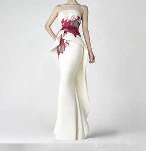 2019 новый элегантный вышивка цветы пятно русалка вечерние платья Vestido де феста совок шеи без рукавов платья выпускного вечера горячие