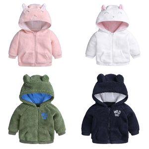 Baby-Mädchen-Kleidungsmantel starke warme Kaschmir mit Kapuze Mantel-Ärmel langen Mantel Zipper Kinder Winter warme Kleidung outwear Kinder