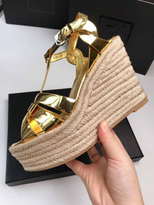 2019 marca mujer tacones altos sandalias wedhes cuero genuino mujer sandalia plataforma impermeable de color caramelo caramelo zapatos de boda 35-41 caja