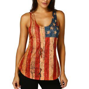 Donna Lace maniche American Flag canotte Serbatoi di camicetta T shirt senza maniche casuale Estate Casual Tee Women