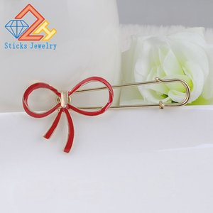 Fashion Jewelry Women High Quality Pins Crystal Bow Gold Alloy Brooch