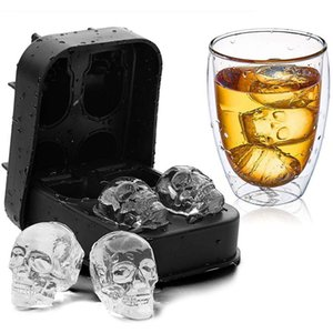 4 Cavity Skull Head 3D Mold Skeleton Skull Form Wine Cocktail Ice Silicone Cube Tray Bar Accessories Candy Mould Wine Coolers DBC BH3764