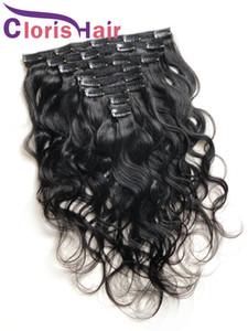 Clip de la onda del cuerpo en las extensiones 100% cruda de Remy del indio del cabello humano 8pcs / set 120g Negro Natural de la armadura del pelo Clip Ins barato ondulada del clip en extensiones