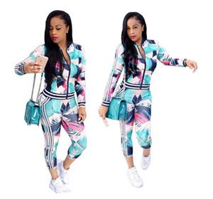 여자의 긴 소매 패션 2 조각 꽃 꽃 인쇄 Bodycon의 스웨터 세트 레이디스 Tracksuit 의상 여자의 Jumpsuit Rompers