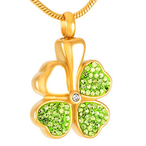 IJD8533 Stainless Steel Cremation for Ashes Four-leaf Clover Pendant Locket Keepsake Memorial Urn Necklace for Women Jewelry