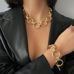 Punk Hip Hop Curb Miami Thick Necklace Bracelet Set Vintage Chunky Round Circle Choker Necklaces For Women Jewelry
