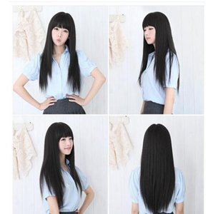 Stock Women Black Wig Cosplay Long Straight Hair Full Natural Looking Wigs