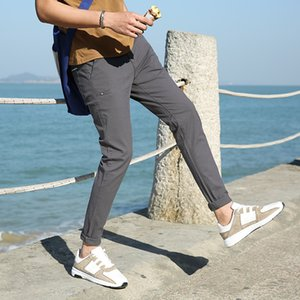LENSTID Otoño Invierno 2018 nuevos pantalones casuales tamaño de algodón para hombres Slim Fit Pantalones Chinos Moda Hombre Ropa de la marca Plus 38 # BC850