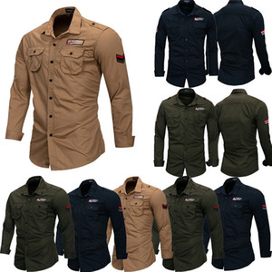 Fashion Men Slim Fit Stand Collar Long Sleeve Shirt Muscle Tee Casual Military Style Autumn Outdoor Hiking Sport Thick Shirts