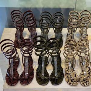 sandali di cuoio inferiori delle signore del modello di pitone appartamento di lusso a spirale estate vitello f 2020 nuovo sexy scarpe da donna della moda stile fashion designer