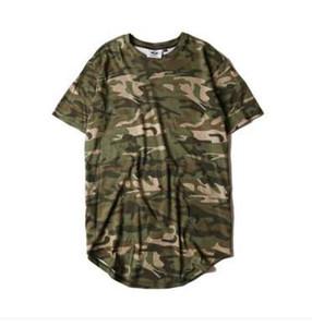 Hi-sokak Katı Kavisli Hem T-shirt Erkekler Longline Genişletilmiş Kamuflaj Hip Hop Tişörtleri Kentsel Kpop Tişörtlerin Erkek Giyim 6 Renkler