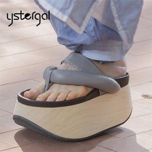 Ystergal Женщины Тапочки Мода Вьетнамки из натуральной кожи толстым дном плоский башмачок лето сандалии дамы Вне Слайды