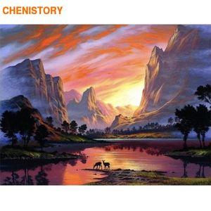 CHENISTORY Quadro DIY Pintura By Numbers paisagem do por tela de pintura caligrafia Wall Art Para Casa Decor 60x75cm