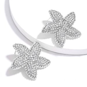 2020 New Shiny Rhinestone Starfish Charm Stud Earrings Women Fashion Jewelry Girls's Collection Earrings Accessories
