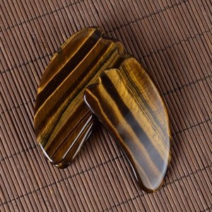 Natural Tiger-eye Stone Gua Sha Board Jade Stone Body Facial Eye Scraping Plate Acupuncture Massage Relaxation Health Care c023