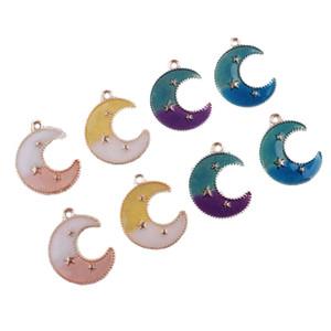 Lua dos desenhos animados esmalte K Gold Plated Charms impressão Pendentes para artesanais DIY Colar Brincos chave Acessórios cadeia de jóias