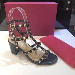 Kutu SIZE ile Kadınlar İnek Deri Yüksek Topuk Sandal Lady deri Toka Kayış Lastik Sole Chunky Topuk Sandal; 34-41