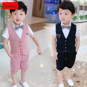 Primavera e Outono Crianças Suit Vestuário Boy Suit cavalheiro britânico Estilo Casamento Duas Peças Formal vestido de festa roupa do bebê