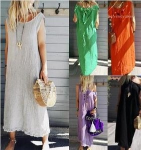 Sexy Sleeveless Long Dress Loose Crew Neck Solid Color Female Clothing Plus Size Womens Summer Designer Dresses
