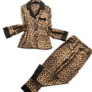 2020 Silk Pijamas de mulher Verão pijamas Define longa manga do casaco Calças 2 Pieces Pijamas Leopard Homewear Conjuntos Plus Size
