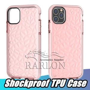 Pour iPhone 12 PRO Max Case Soft Shock Spood protecteur Cristal Bling Glitter Caoutchouc TPU Case pour Samsung S20 Ultra S10 Plus Note 20