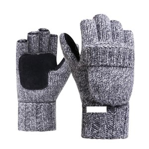 Unisexe Hommes Gants en tricot d'hiver Flip Gants en laine Mitten épais chaleureux Homme Laine Fingerless Finger moitié Gants D18110806 Hight Qualité