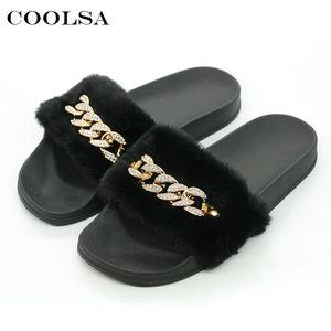 Coolsa New Summer Women Plush Slippers Cute Fluffy Fur Slides Diamond Chain Brand Female Indoor Slipper Casual Shoe Party Sandal Y200706