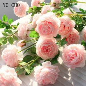 flores artificial Falso Rose Artificial Silk Peony Pink Flowers Wedding Bridal Bouquet Home Decor