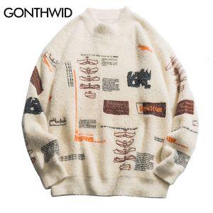 GONTHWID Graffiti Knitted Pullover Jumper Sweaters Streetwear Hip Hop Casual Long Sleeve Turtleneck Knitwear Sweater Men Tops LY191202