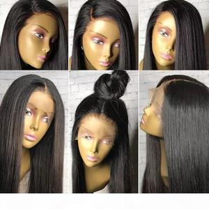 Peruca dianteira do laço 13x6 longo Parting Preplucked Cabelo Humano Hairline 9A Grade brasileiro do Virgin Perucas reta de seda peruca cheia do laço de Black Wome