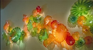 2020 Contemporary Wall Art Chihuly Murano Glass Plate Home Circulated Hand Blue Glass Wall Plate for Home