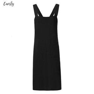 Women Vintage Side Pockets Apron Linen Dress Female Autumn Black Vestidos Mujer 2020 New Square Neck Fashion Sleeveless Solid Color Dress