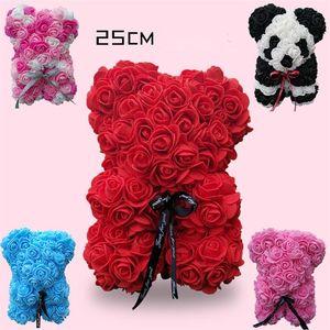 25 cm Rose Bear Día de San Valentín Regalo PE Rose Toys Romántico Osos de peluche Muñeca Lindos Flores Decorativas Presente Moby Baby 25pcs T1I1811