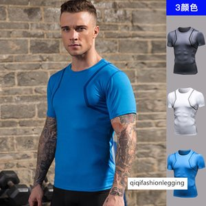 Men Fitness Printing Sports Training Breathable Speed Dry Clothing Pro Gao Bomb Tight Fit Short Sleeve T Shirt 91205