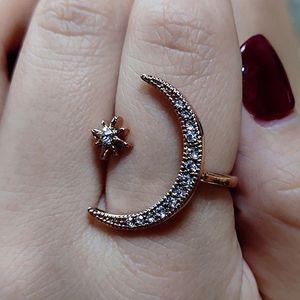 Hipster índice abierta tono de batido de anillo con un 2 en 1 web anillo celebridad corona anillo de modelado femenina