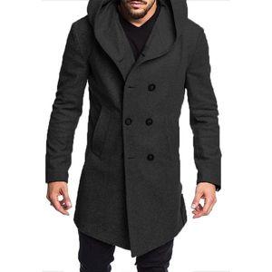 Мода мужчины с капюшоном с длинным рукавом зима теплая высокое качество шерстяное пальто куртка с капюшоном воротник тренч пиджаки пальто длинная куртка Peacoat топ