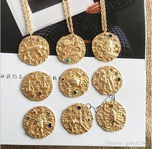 12 Burç Kristal 18 k Altın Kaplama Kabartma kolye, kristaller takımyıldızı disk, Burç Constellation kolye, Akrep takılar, SATIŞ qjs6632