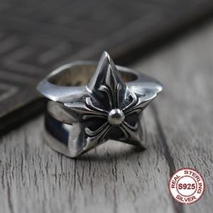 S925 saf gümüş erkek yüzük kişilik antik yollar punk tarzı sevgilinize Ekstra kalın pentagram klasik yüzük Hediye