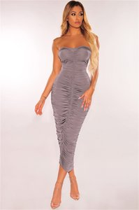 Womens Vestidos Sexy Strapless Bodycon Irregular Ruched vestido longo Summer Fashion Casual Party Club Roupa Mulheres