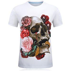 E-BAIHUI New 2019 T-shirt Crâne Impression 3D Rose Rouge Hommes / Femmes T-shirt Drôle Hip Hop Rock T-shirts Chemises Hommes 3d T-shirts Tops