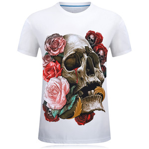 E-BAIHUI New 2019 T Shirt Skull 3d Stampa Rosso Rosa Uomini / Donne T-Shirt Divertente Hip Hop Tees Magliette Uomini 3d Magliette Top